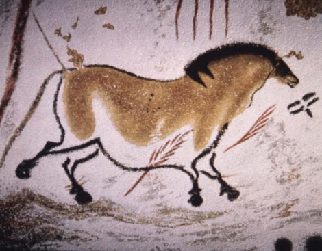 A horse from Lascaux with unnaturally rotated feet so you can see what kind of tracks it would leave behind