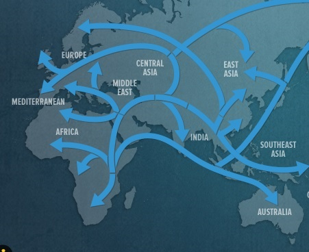 The map based on the Genographic data. The migration