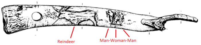 A palaeolithic engraving possibly showing  a woman hunting.